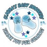 Personalised Blue Booties Baby Shower Party Stickers